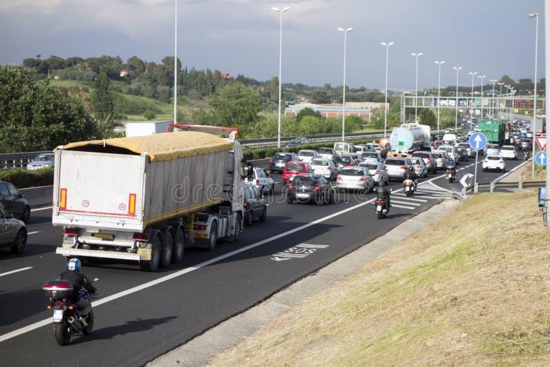 Traffic jam in Rome stock image