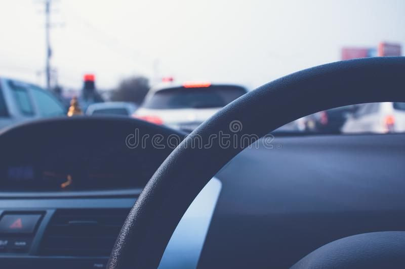Traffic jam during rush hour. Traffic jam with row of cars during rush hour stock images