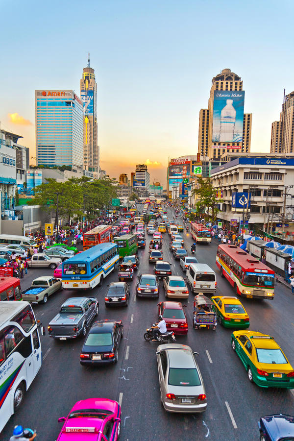 Traffic jam during rush-hour in Bangkok royalty free stock photography