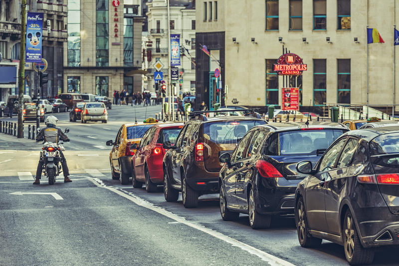 Traffic jam, rush hour stock photography