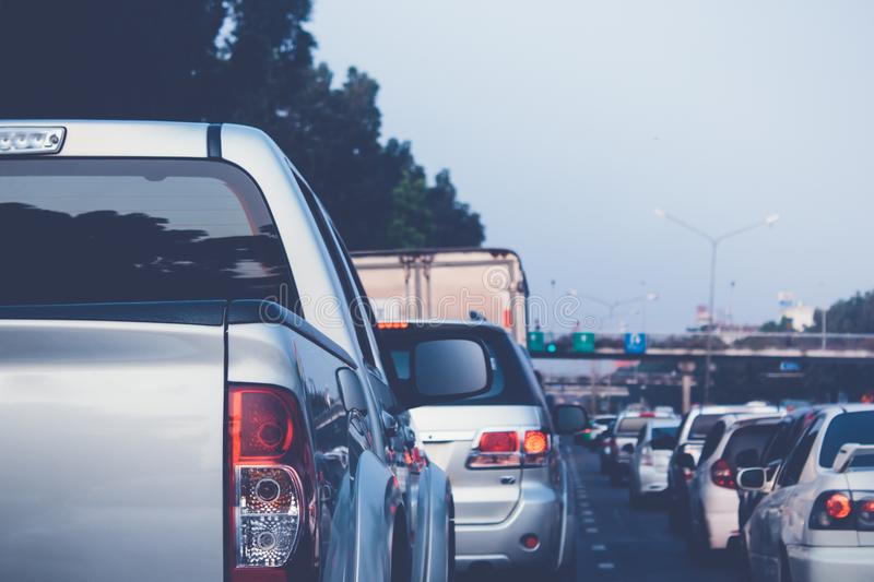 Traffic jam during rush hour. Traffic jam with row of cars during rush hour stock image