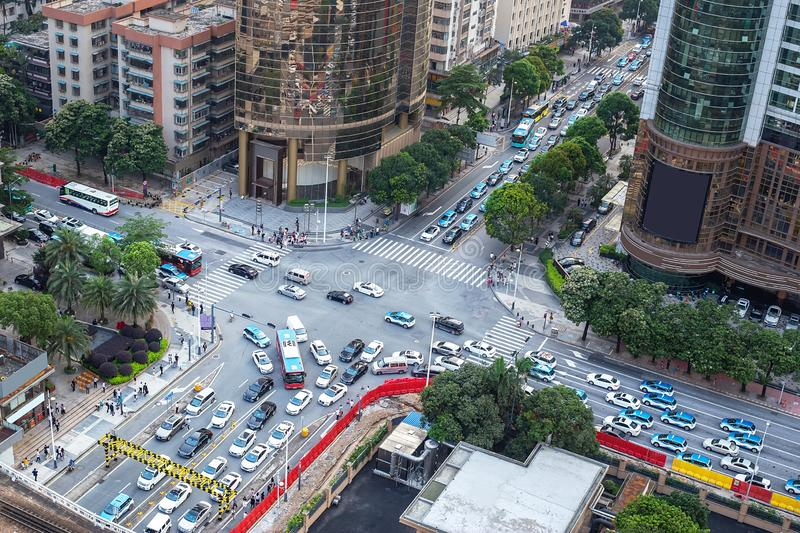 Traffic jam at rush hour royalty free stock images