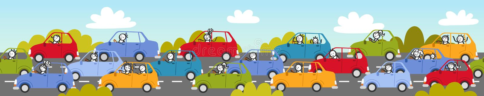 Traffic jam, rush hour, stick people in colorful cars, cartoon street and bushes. Traffic jam, rush hour, stick people in colorful cars, cartoon street, bushes vector illustration