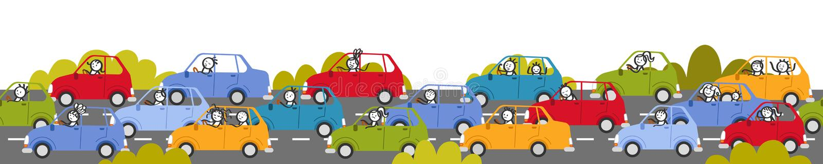 Traffic jam, rush hour, stick people in colorful cars, cartoon street. And bushes, isolated on white background stock illustration
