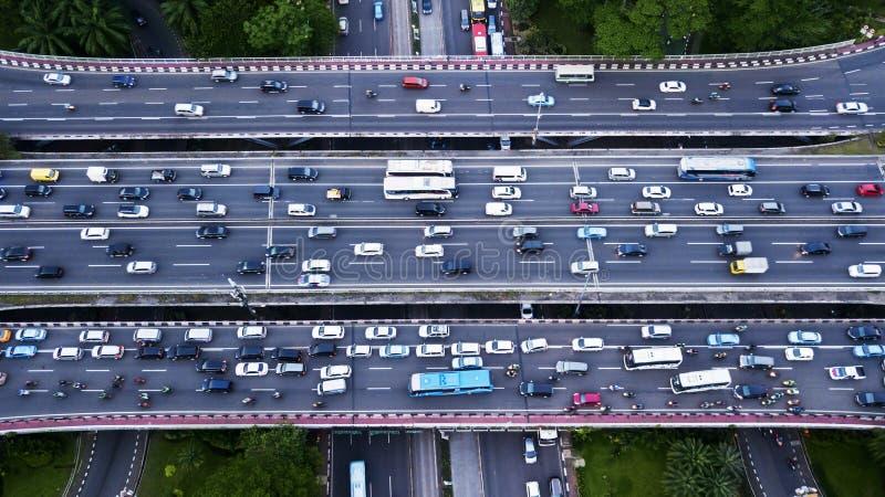 Traffic jam on the Semanggi road interchange. Top view of traffic jam on the Semanggi road interchange at the peak hour in Jakarta, Indonesia stock photo