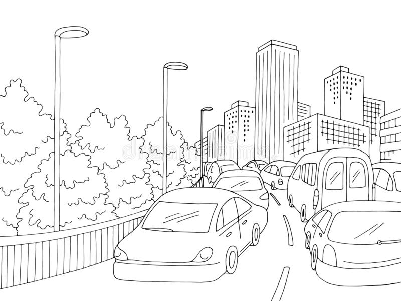 Traffic jam street road graphic black white city landscape sketch illustration vector royalty free illustration