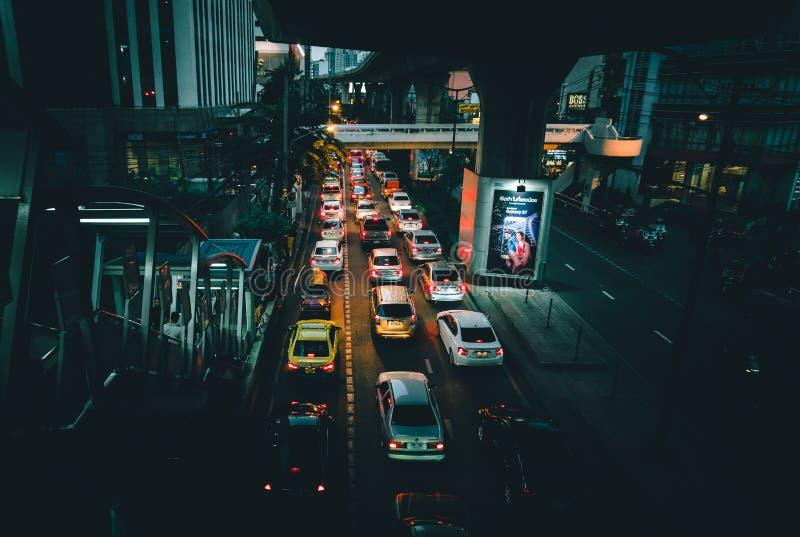 Traffic jam. On street in Thailand stock photo