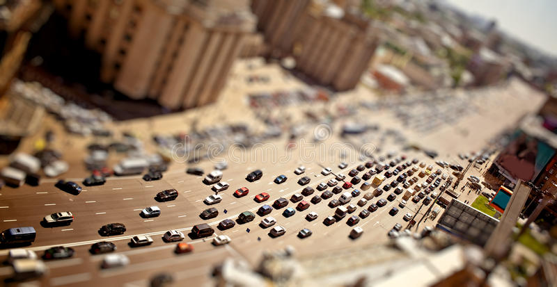 Traffic jam with tilt-shift effect. Aerial Moscow view with tilt-shift effect stock images