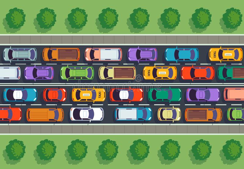 Traffic jam top view. Many cars on highway, different vehicles from above. Auto vector infographic. Traffic jam top view. Many cars on highway, different stock illustration