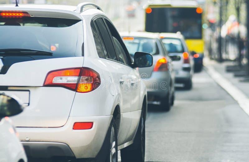 Traffic jam on urban street blurry image. Traffic jam cars on urban street blurry image stock images