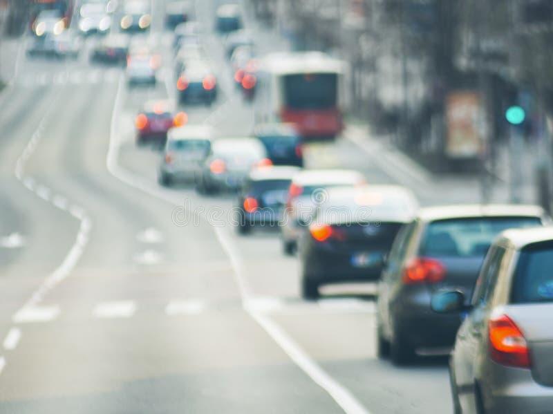Traffic jam on urban street blurry image. Traffic jam cars on urban street blurry image stock photos