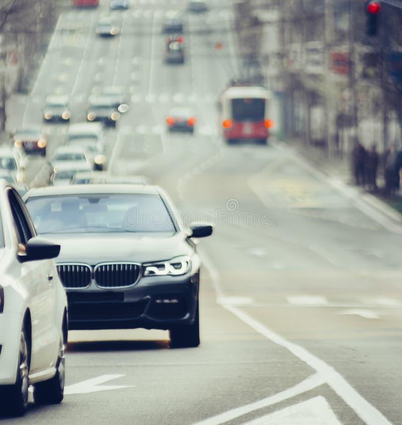 Traffic jam on urban street blurry image. Traffic jam cars on urban street blurry image stock photo