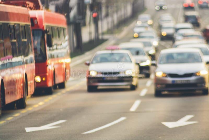 Traffic jam on urban street blurry image. Traffic jam cars on urban street blurry image royalty free stock photo