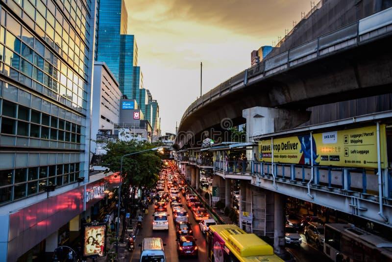 Traffic jam during the weekend after work at Silom Road, Bangkok, Thailand : May 3, 2019 stock photo