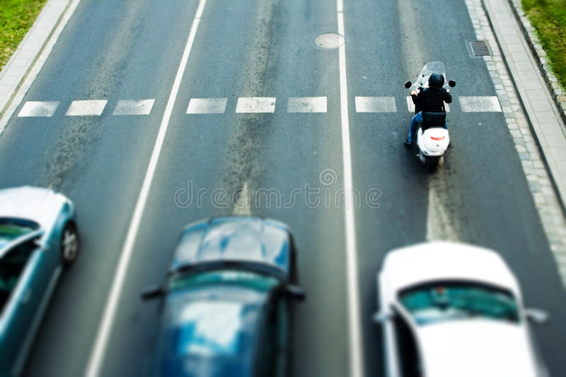 Download Traffic Jam And Woman On Moped Stock Image - Image: 15090325