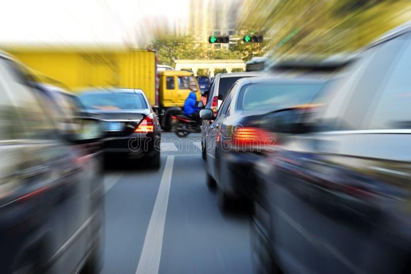 Traffic jam Zoom blur effect stock images