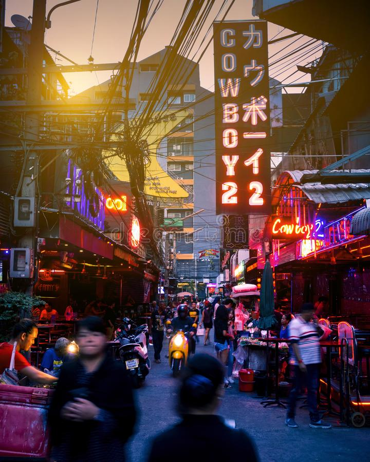Traffic jammed in Bangkok stock images