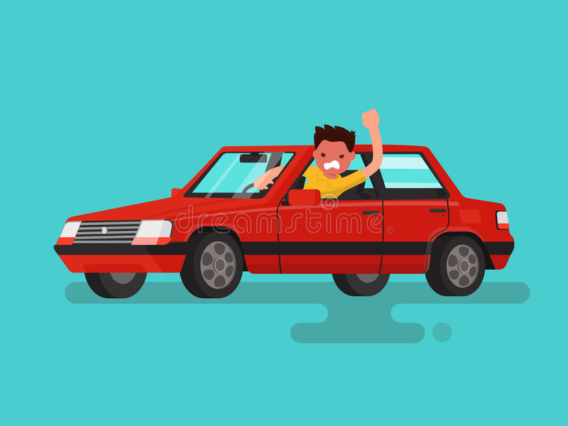 Traffic jams. Angry man swears in the car. Vector illustration. Of a flat design stock illustration