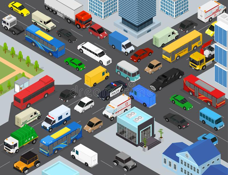 Traffic Jams on a City Landscape Background Scene Concept 3d Isometric View. Vector. Traffic Jams on a City Landscape Background Scene Concept with Car, Bus and royalty free illustration