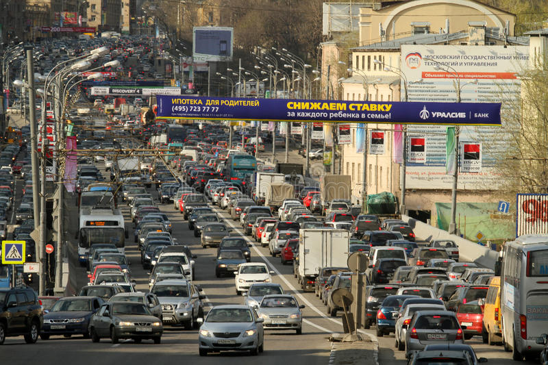 Download Traffic jams at rush hour. editorial stock image. Image of commuter - 19335034