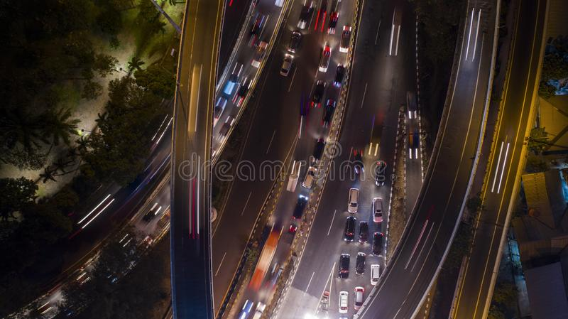 Traffic jams on toll road at night. Top view of traffic jam on toll road at night in Jakarta, Indonesia royalty free stock image