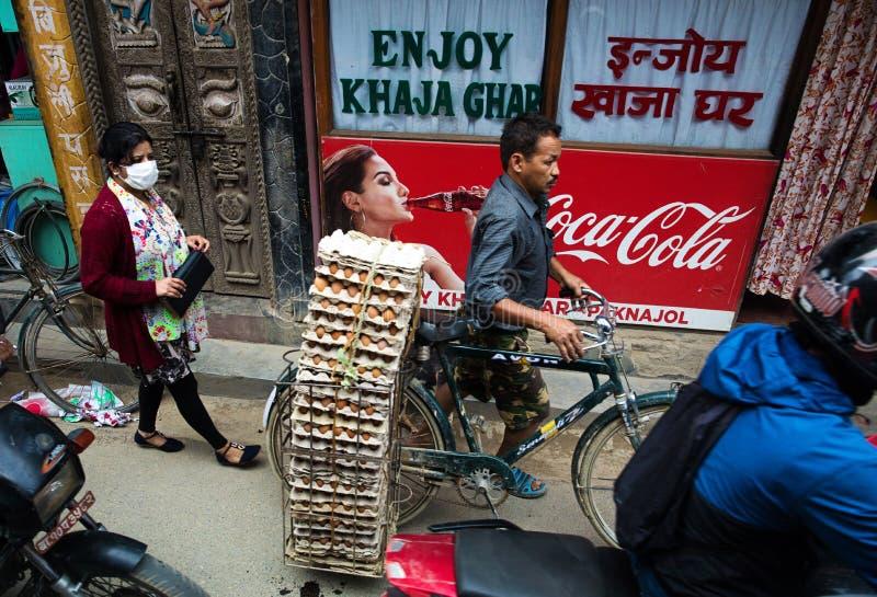 Daily traffic, Kathmandu stock photo