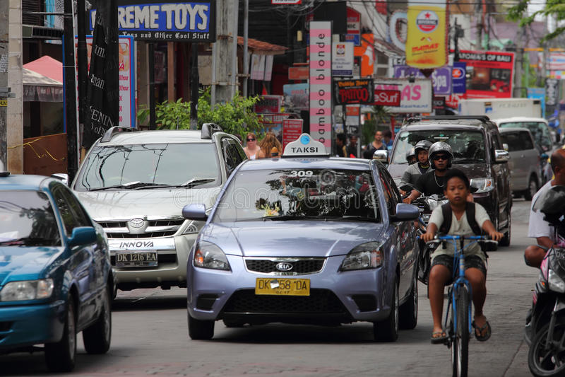 Traffic At Kuta, Bali Editorial Stock Image