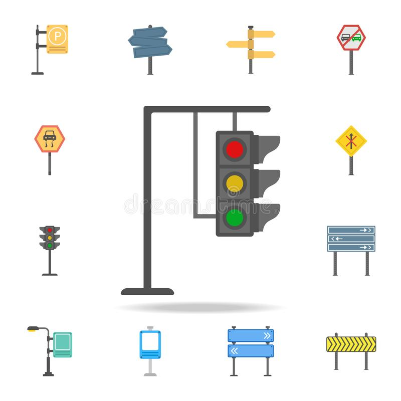 Traffic lamps colored icon. Detailed set of color road sign icons. Premium graphic design. One of the collection icons for royalty free illustration