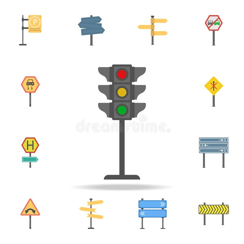 Traffic lamps colored icon. Detailed set of color road sign icons. Premium graphic design. One of the collection icons for stock illustration