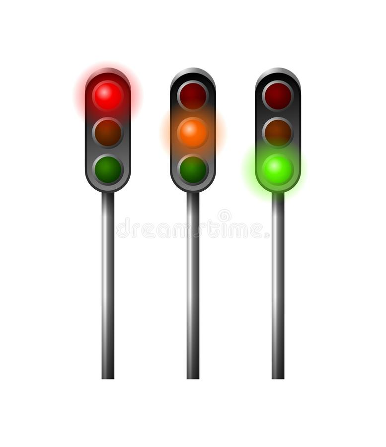 Traffic light. Illustration of traffic lights on the street royalty free illustration