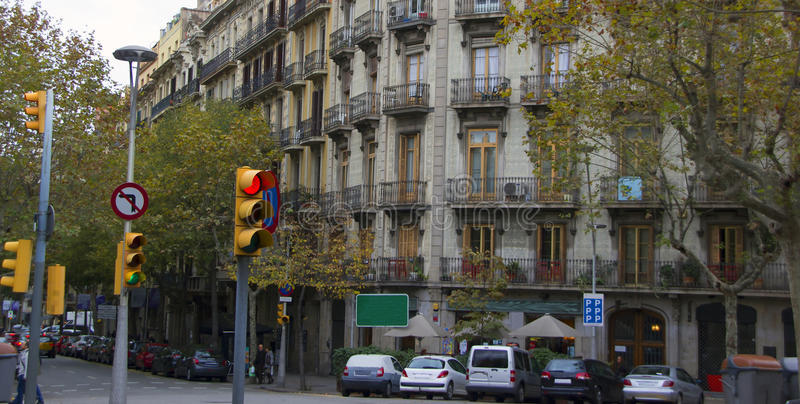 Traffic light in the city. Traffic light on the steet of Barcelona. Spain royalty free stock image