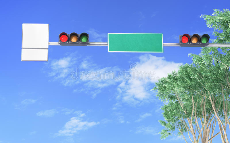 Traffic light, on a city street with traffic signs. And pointers, against the sky stock photography