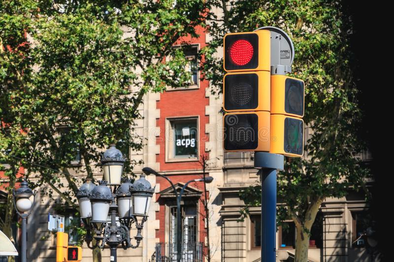 traffic light in a city street which prohibits the passage of vehicles royalty free stock photos