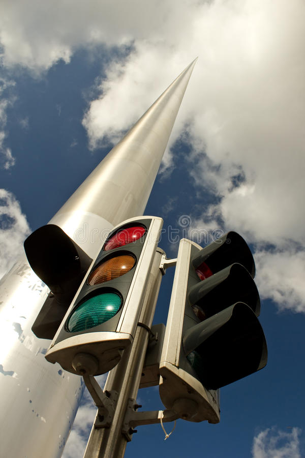 Traffic light and Dublin Spire stock photos