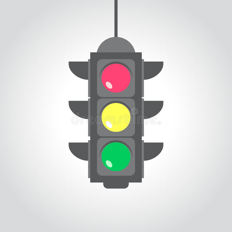 Traffic light, flat vector illustration. For your projects royalty free illustration