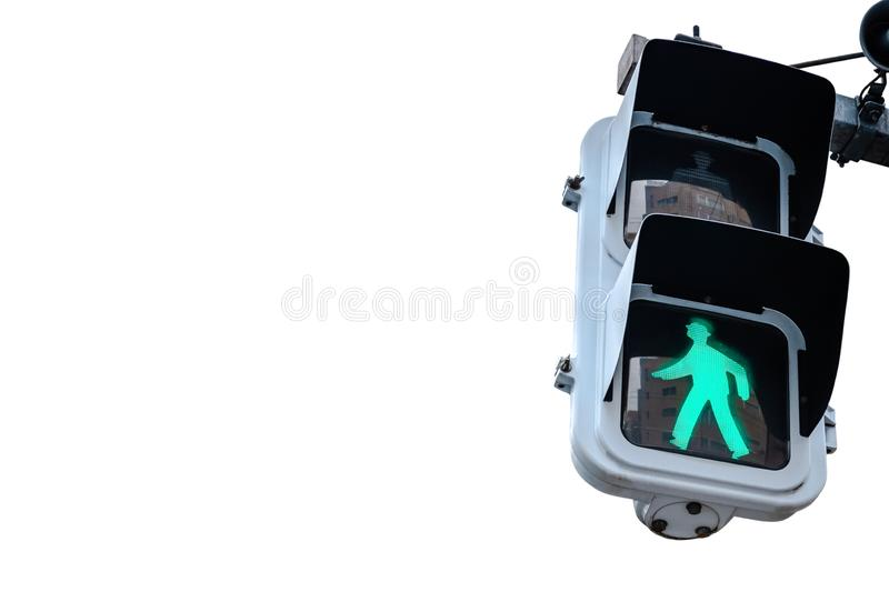 Traffic Light, Green Walk Sign. Isolated on white background.  stock image