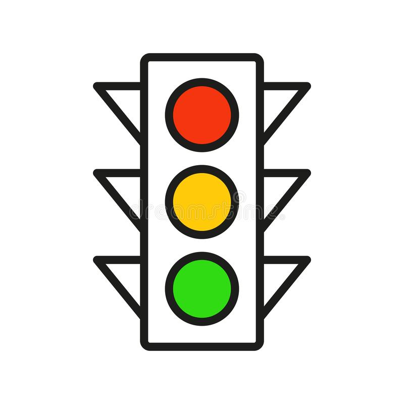 Set of Traffic light interface icons. Traffic light interface icons. Red, yellow and green stop, go and wait. Line vector buttons royalty free illustration