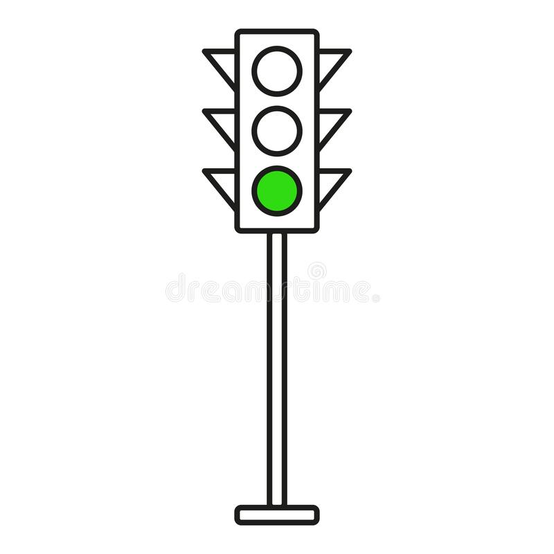 Traffic light interface icons. Red, yellow and green stop, go and wait. Line vector buttons stock illustration