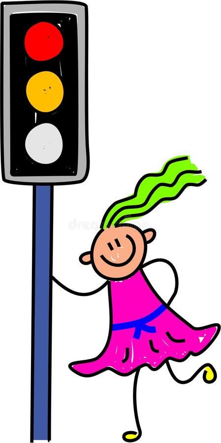 Traffic light kid vector illustration
