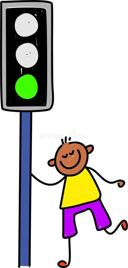 Traffic light kid royalty free illustration