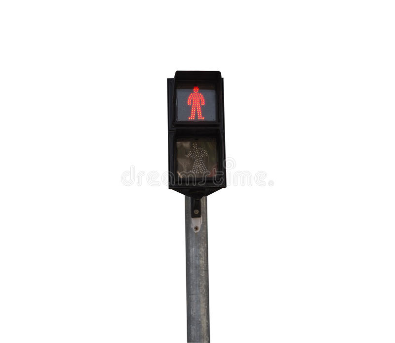 Traffic light for people to cross the road stock image