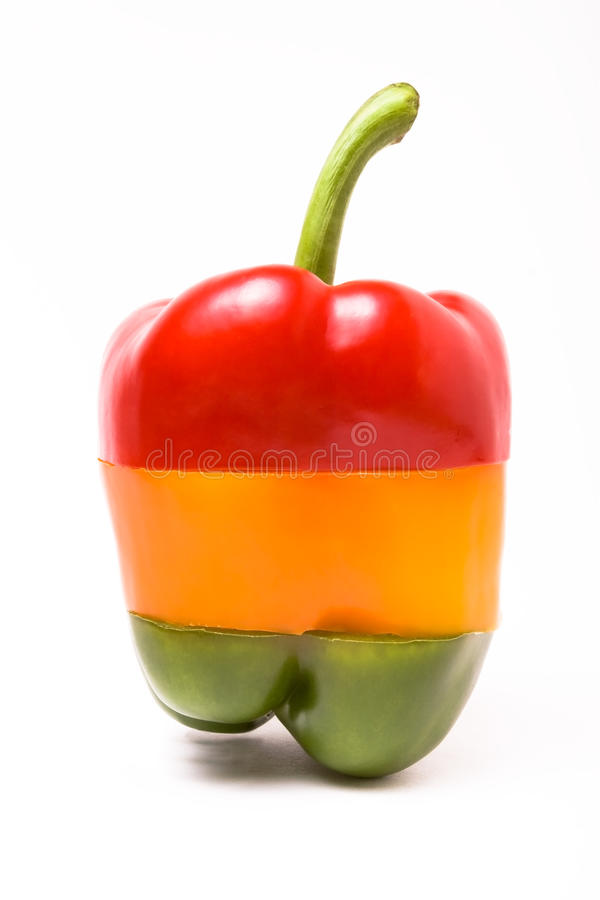 Traffic Light Pepper. A selection of sliced sweet bell peppers arranged to resemble a set of Traffic Lights isolated against white stock photography