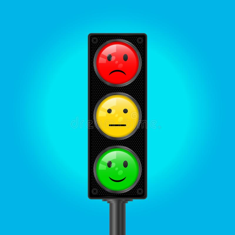 Traffic Lights with Emoticons, Vector Illustration stock illustration