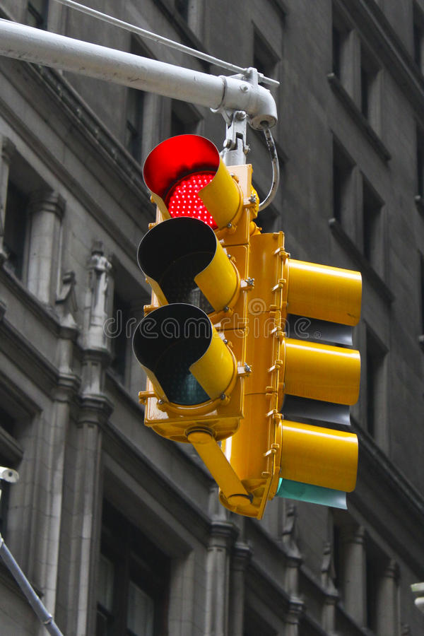 Traffic Light On Red. Traffic Light at a busy intersection on red royalty free stock images