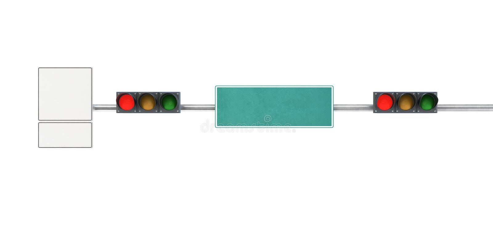 Traffic light, red lights on a city street with traffic signs an. D pointers stock illustration