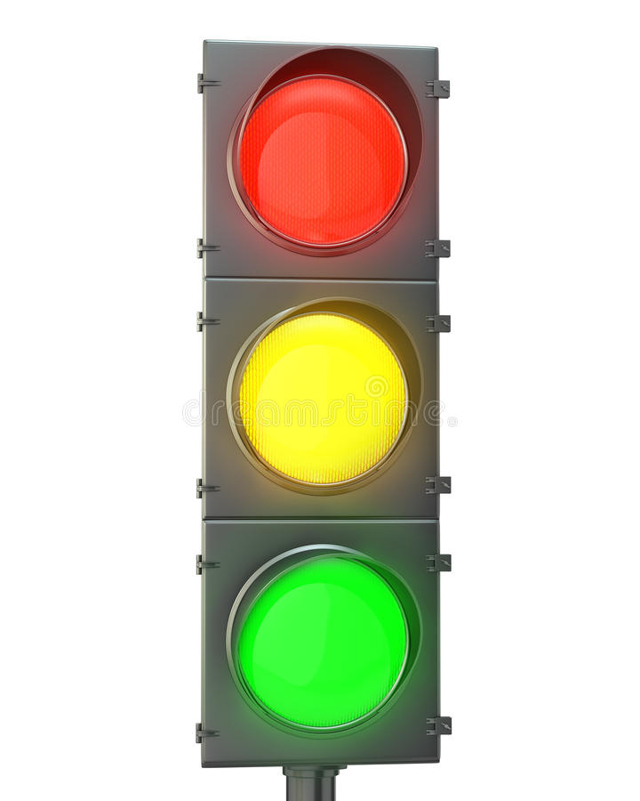 Download Traffic Light With Red, Yellow And Green Lights Stock Image - Image: 23063061