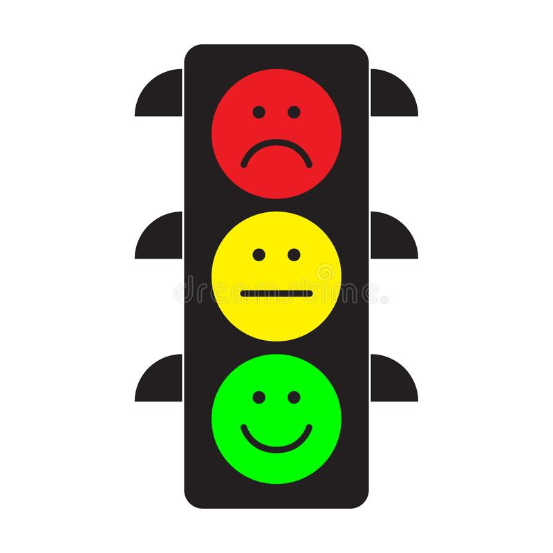 Traffic light with red, yellow and green smileys vector illustration