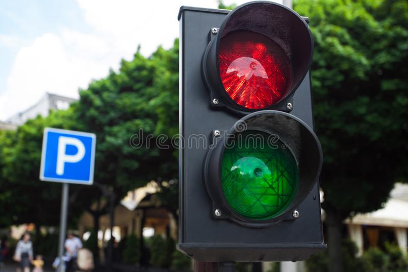 Traffic light on the road royalty free stock images