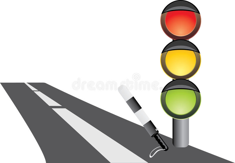 Traffic-light and rod. Fragment of road stock photography