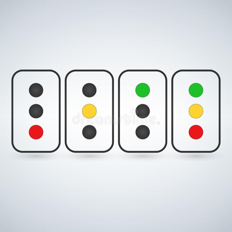 Traffic light set or light indicators. traffic lamps, semaphores, green, red, yellow. Vector illustration isolated on modern backg. Round vector illustration